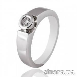 Кольцо из белого золота с одним бриллиантами 25391