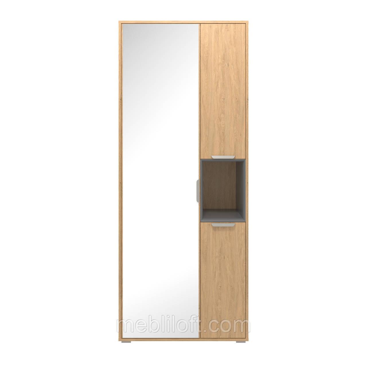 Шкаф H1V3D (с зеркалом) дуб каменный/ графит Прихожая  Арте / Arte