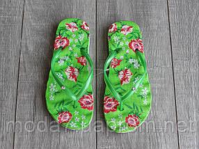 Вьетнамки женские салатовые с цветами, фото 2