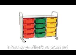 Візок металевий для зберігання дидактичного матеріалу (З 12 скрині F2)