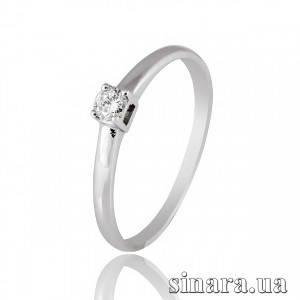 Кольцо из белого золота с одним бриллиантами 27246