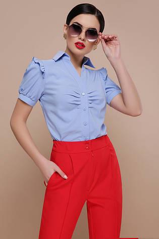 f81e08cede5 Стильная однотонная блузка с короткими рукавами-фонариками и оборками  Маргарита к р голубая