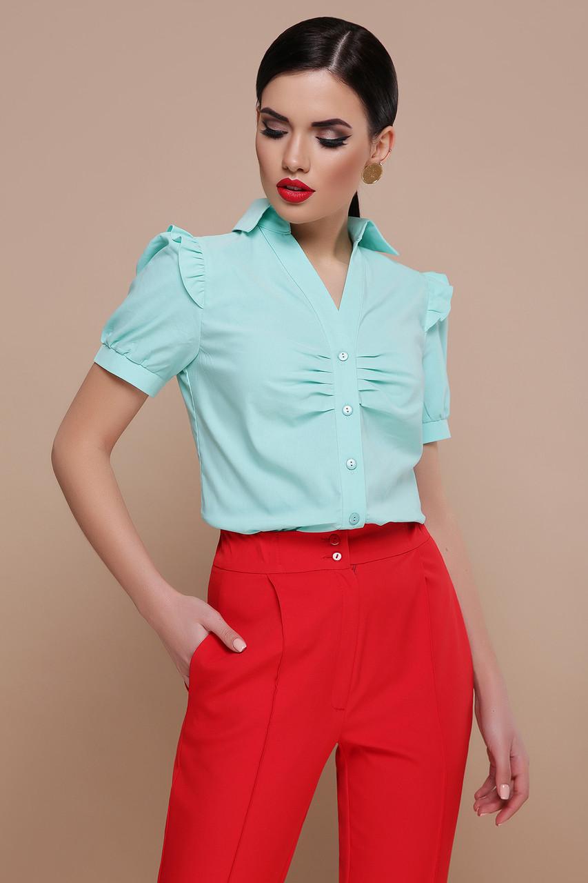 0ea5c3629c5 Легкая женская однотонная блузка с короткими рукавами с рюшами и драпировкой  Маргарита к р мятная