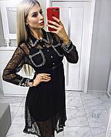 Платье из красивой и мягкой органзы с декором. Размер 42-44.Цвет 81567d4dba053
