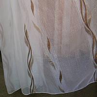 Гардина, тюль, органза белая, рисунок вертикальный коричневый