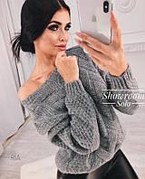Шикарный теплый вязанный свитер. Размер:42-46. Разные цвета (6079)