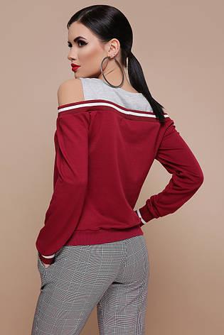 Легкая женская молодежная кофта с разрезами на плечах Молли д/р бордовая с серым, фото 2