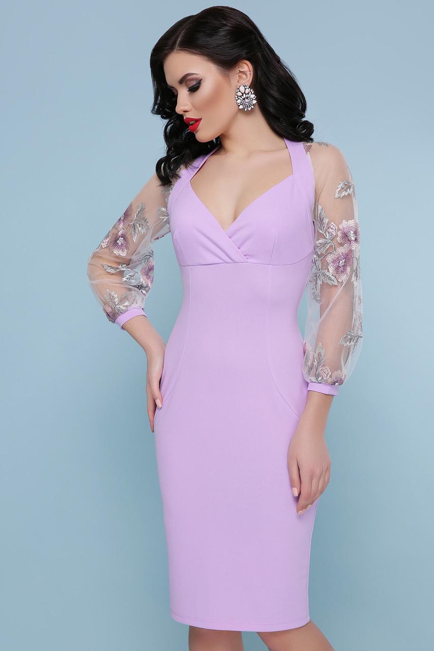 0e1e7e3f0ec Красивое облегающее платье до колен с прозрачными рукавами в сетку с  вышивкой Флоренция В д