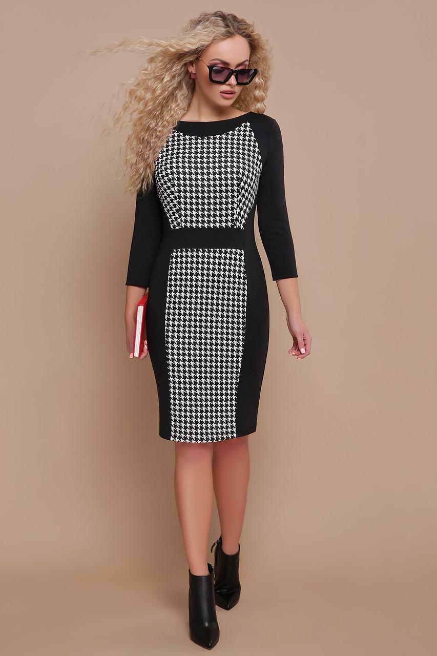 8eb1de6c645f620 Черное платье футляр с принтом