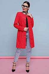 Стильный женский легкий плащ без воротника до колен Плащ 329 цвет 117 ярко-красный