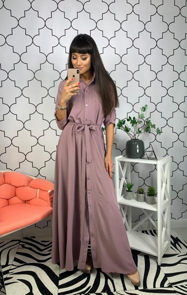 Стильное платье-рубашка в пол