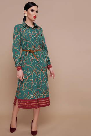 eb8a7d0ca70 Стильное прямое платье-рубашка миди на пуговицах с длинным рукавом принт  Ремешки-цепи Зарина