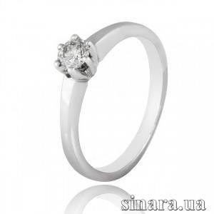 Кольцо из белого золота с одним бриллиантами 27278