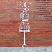 Манекен-вешалка для одежды женский, метал, белый