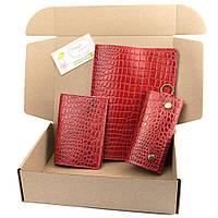 Подарочный набор №25: Обложка на ежедневник + обложка на паспорт + ключница (красный крокодил), фото 1