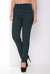 Классические женские однотонные прямые брюки с карманами темно-зеленые