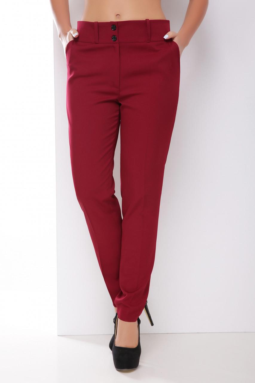 Классические женские однотонные прямые брюки с карманами бордовые