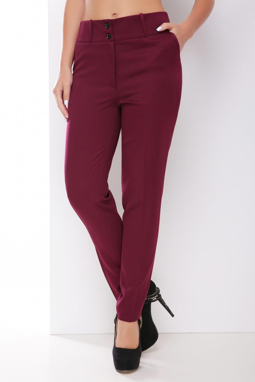 Базовые женские прямые брюки с карманами классика однотонные баклажанового цвета
