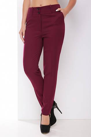 Базовые женские прямые брюки с карманами классика однотонные баклажанового цвета, фото 2