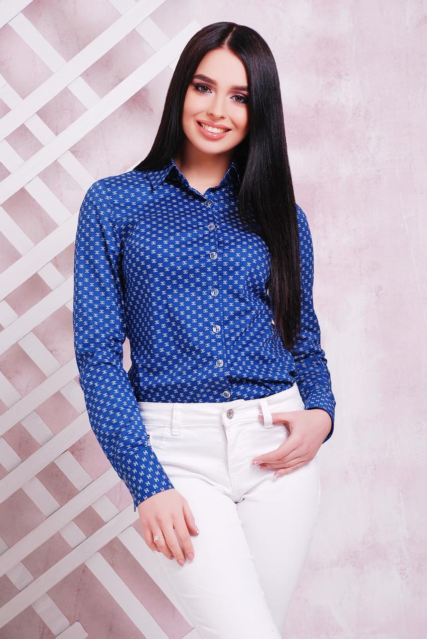 9949f21d3ef Классическая женская коттоновая рубашка с длинным рукавом синяя принт  шанель -