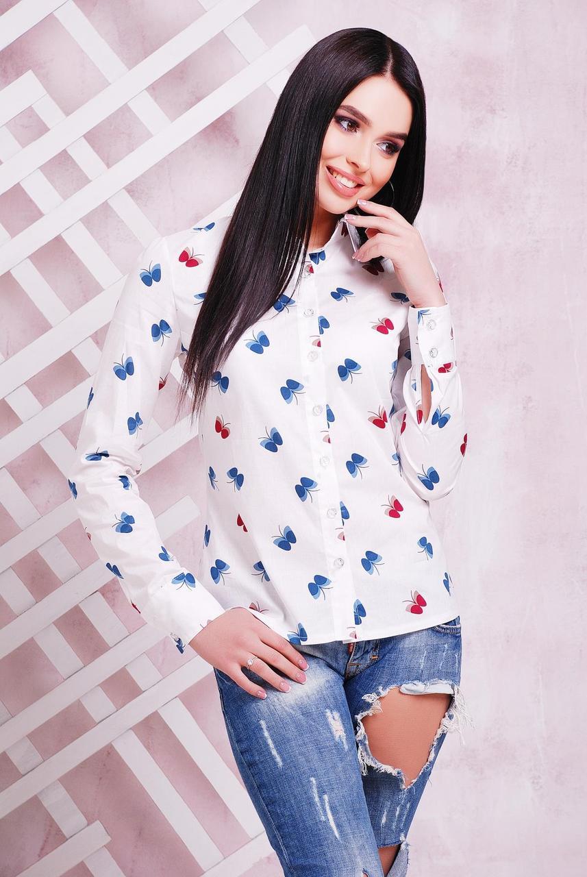 Женская светлая молодежная рубашка с длинным рукавом принт бабочки