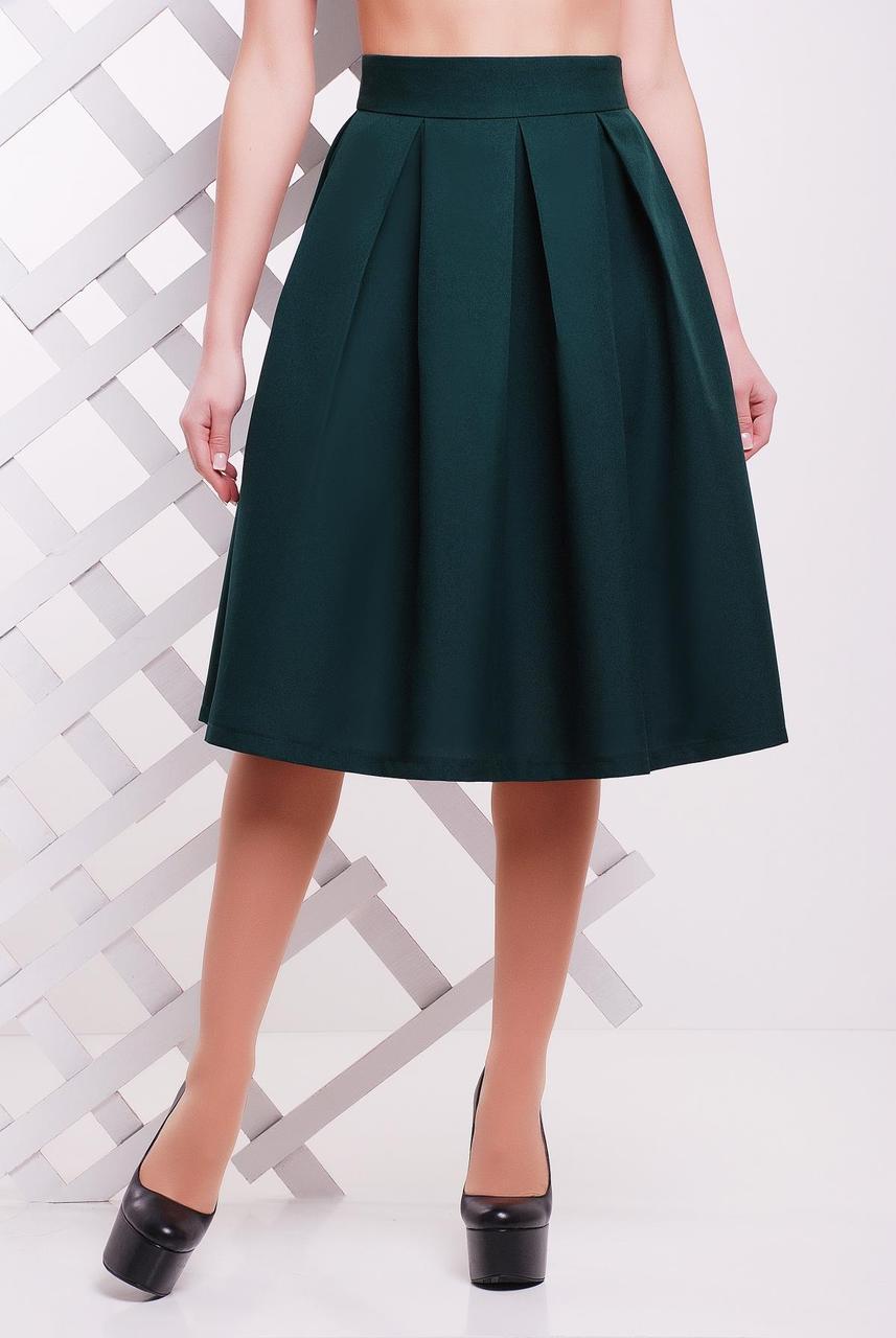 Красива жіноча пишна спідниця нижче колін зі складками однотонна темно-зелена