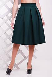 Красивая женская пышная юбка ниже колен со складками однотонная темно-зеленая