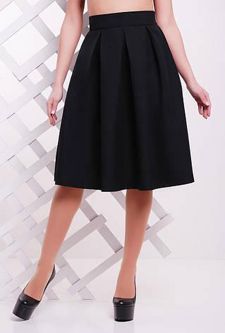 Нарядная женская пышная миди юбка со складками высокая талия однотонная черная, фото 2