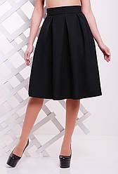 Нарядная женская пышная миди юбка со складками высокая талия однотонная черная