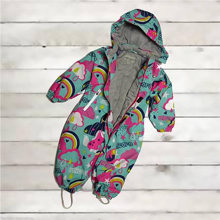 Термо комбинезон демисезонный  для девочки от 6 месяцев до 2-х лет бирюзовый, фото 2
