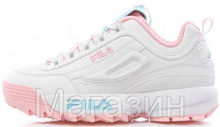 9d582c937c59 Женские кроссовки Fila Disruptor 2 Low The Candy Shop White / Pink / Blue  кожаные Фила Дисраптор 2 белые
