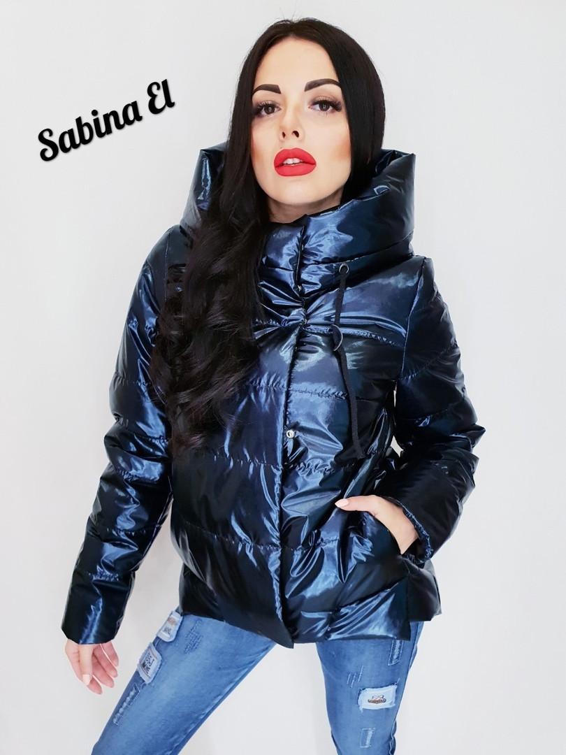 Женская короткая куртка на весну-осень металлик tez701187