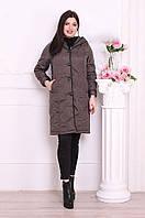 Пальто женское плащевка батал хаки КТ-1