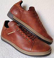 Чоловічі туфлі кеди з натуральної шкіри коричневі руді сезон осінь весна  репліка Гесс 1bd1cb4ceb66b