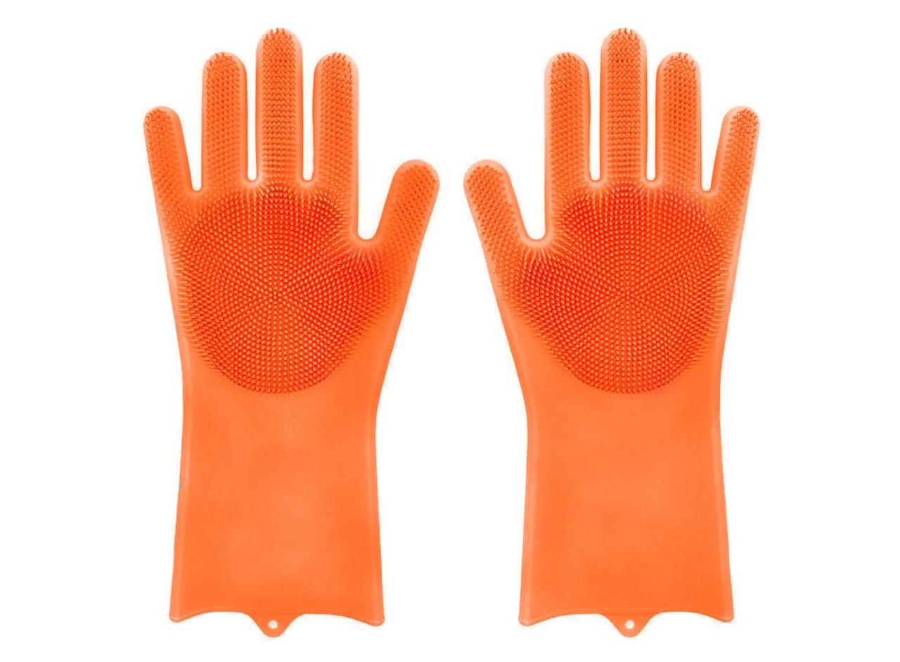 Силиконовые перчатки для уборки и мытья посуды Magic Silicone Gloves, оранжевые