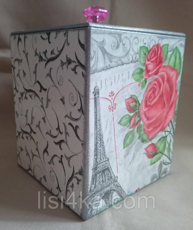 Деревянная емкость для сыпучих продуктов с парижским рисунком и розой в серебристо-серых тонах