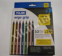 Большие цветные карандаши 10 цветов с точилкой, фото 1