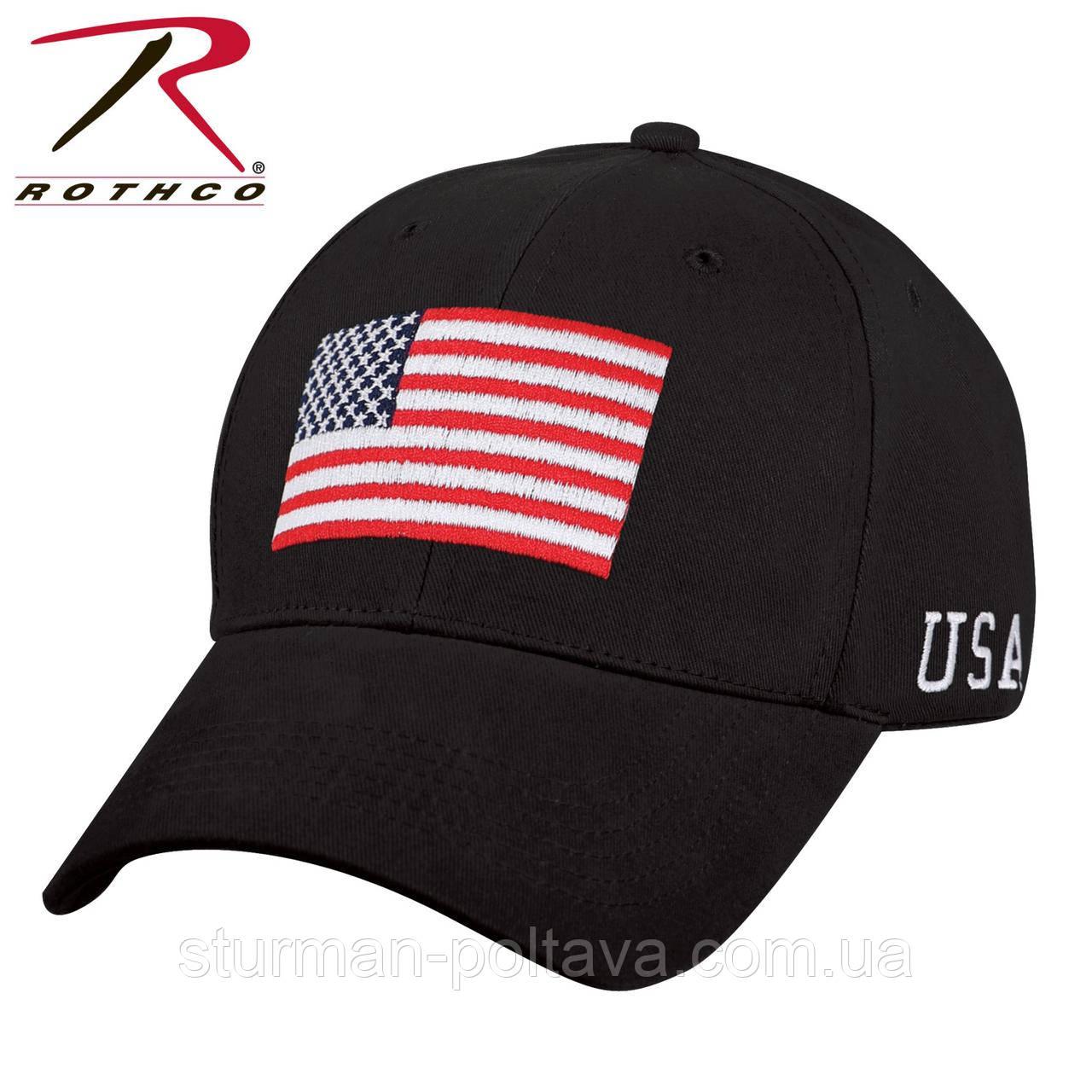 Бейсболка чоловіча з вишивой прапор Flag USA Low Pro Cap колір чорний бавовна твіл Rotcho
