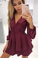 Платье-шорты женское с поясом бордовое 8155