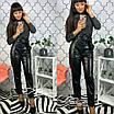 Кожаные женские брюки с высокой посадкой (в расцветках), фото 3