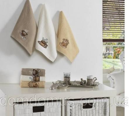 """Кухонные махровые полотенца """"Кофе"""" 30*50 см Philihhus, 6 шт, Турция"""