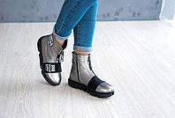 Женские демисезонные ботинки из натуральной кожи (никель), фото 1