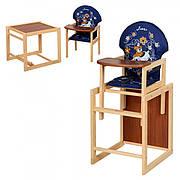 Деревянный стульчик для кормления (трансформер) Собака, М V-010-24-6 (синий)