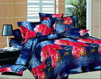 Комплект постельного белья из сатина с рисунком 3D. Постельное белье цветы на сером фоне