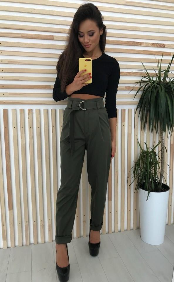 Стильные женски брюки с завышенной талией с поясом