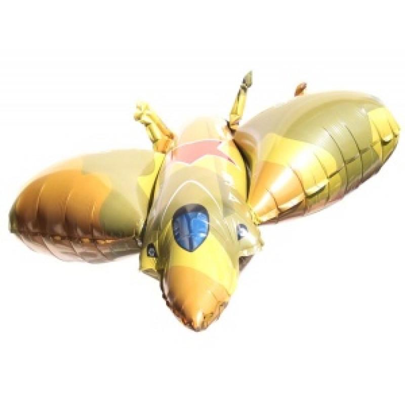 Фольгированный шар Истребитель желто-зеленый