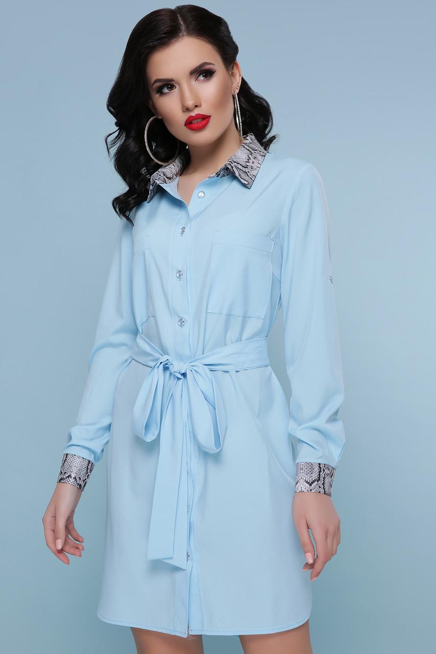Красивое платье рубашка голубое с поясом