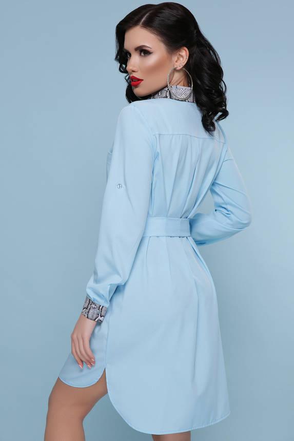 Красивое платье рубашка голубое с поясом, фото 2