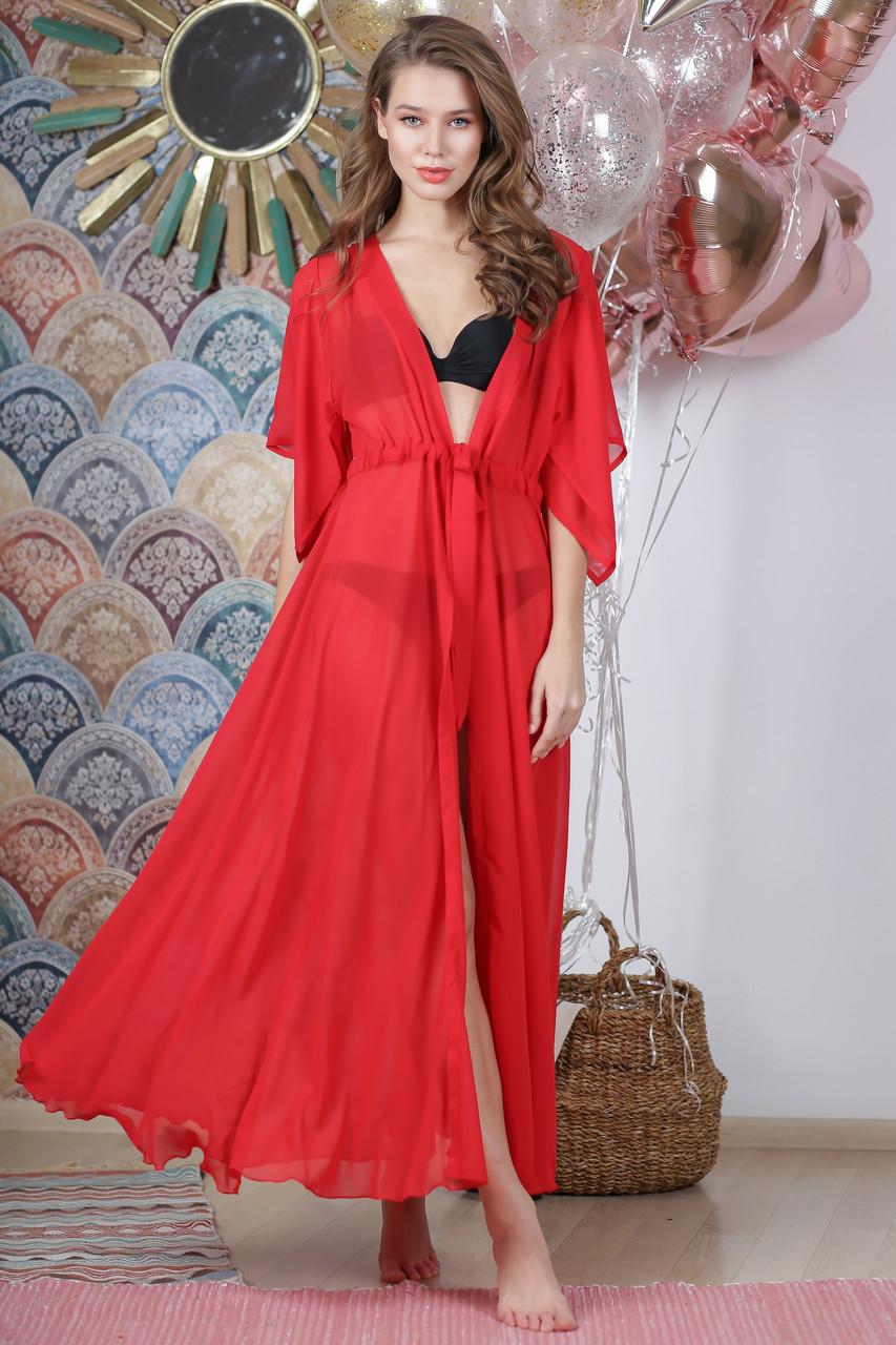Длинная пляжная туника, цвет - красный.