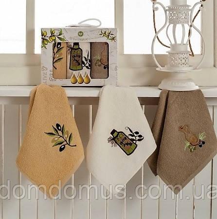 """Набор махровых кухонных полотенец """"Олива"""" 30*50 см PHILIPPUS 3 шт,и Турция"""
